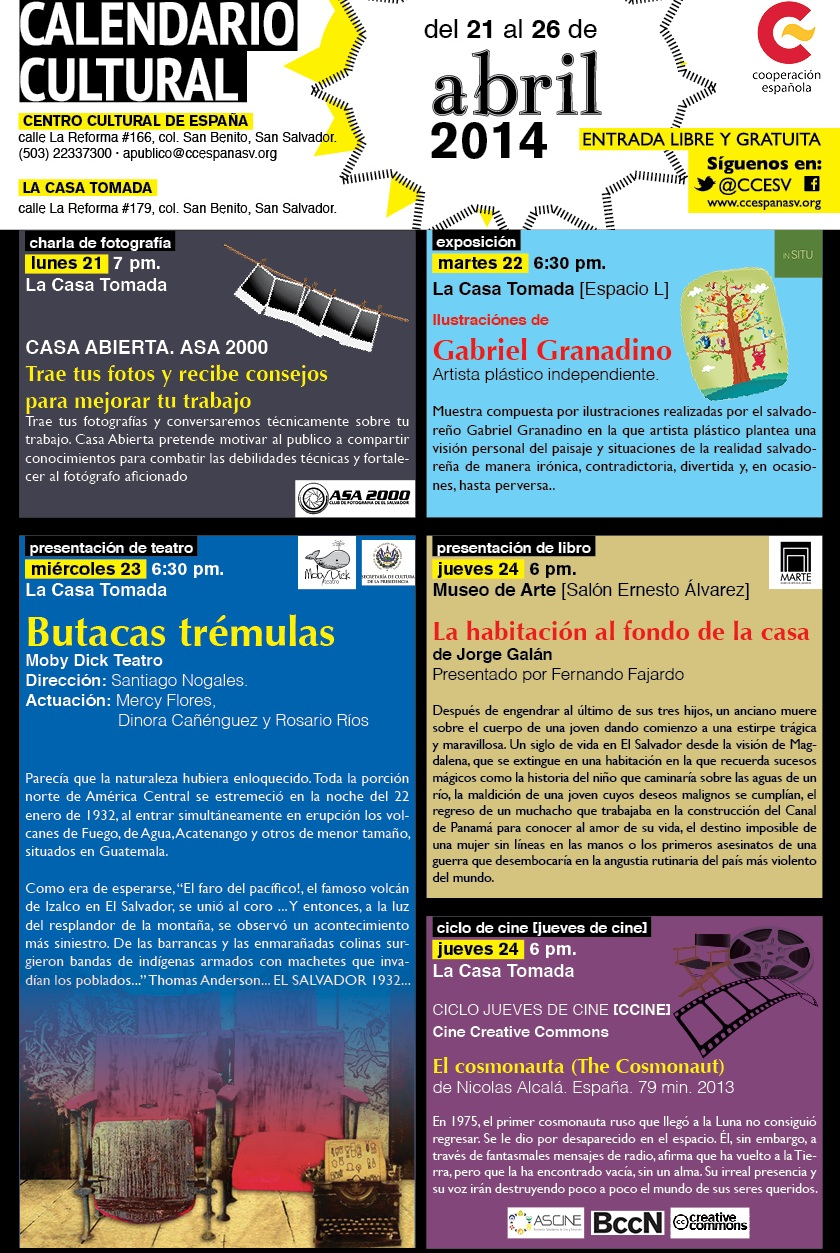 Calendario 1932 Espana.Calendario Cultural Agenda Cultural El Salvador