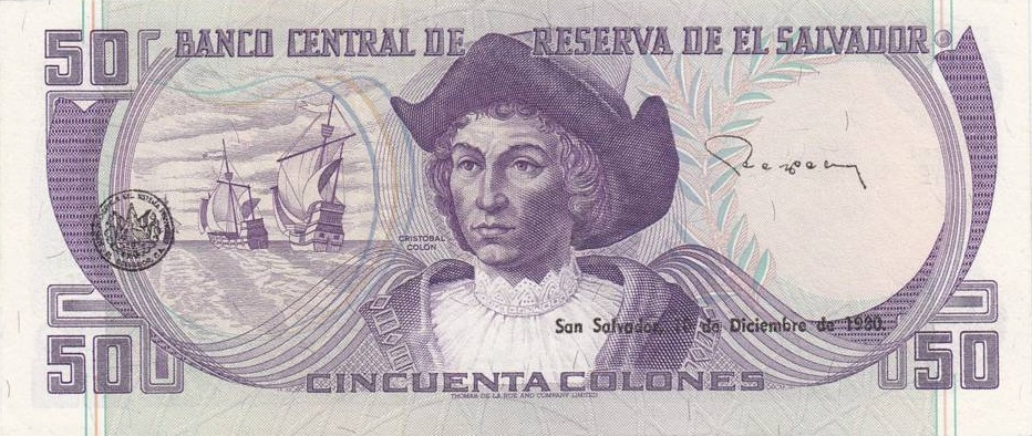 Billete de 50 colones El Salvador