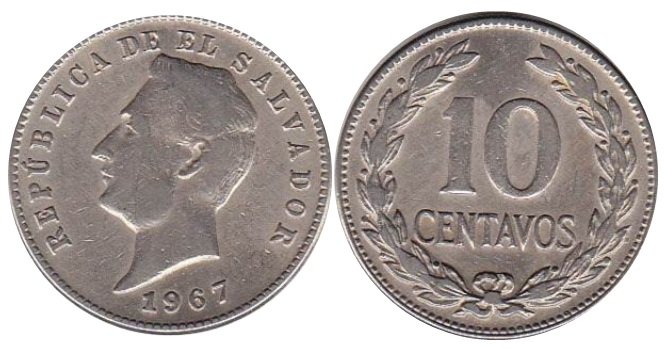 Moneda de 10 centavos de colon de El Salvador
