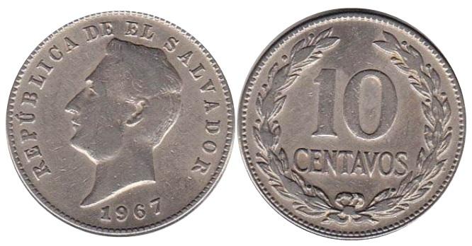 Moneda de 10 centavos de colon de El Salvador