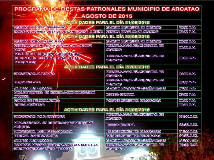 fiestas patronales de arcatao 2015